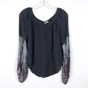 L'agence Black Tie Dye Sleeve Silk Blouse